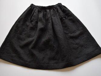 Babette バベット リネンギャザーパイピングポケットスカート 黒の画像