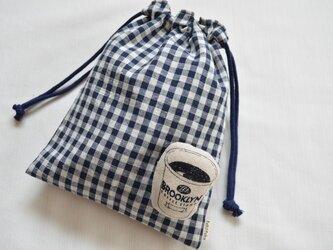 シンプル ネイビー系 チェック バンダナ柄・巾着袋の画像