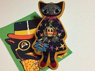 ハロウィンの黒猫ちゃん バッグチャーム(スパイダー)の画像