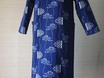 手織り久留米絣:菊に流水と枝折り戸のワンピース(W-4)の画像