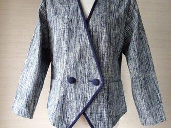 手織り久留米絣:グレーのシャープなジャケット(W-42)の画像