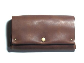 縫製のないふんわり長財布(牛革/プルアップ/ヌバック仕上げ/Dark Brown)の画像
