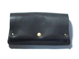 縫製のないふんわり長財布(牛革/プルアップ/ヌバック仕上げ/Black)の画像
