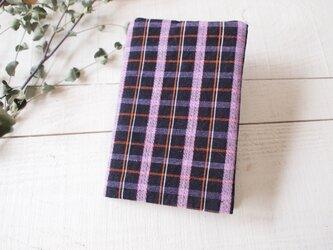 紺とピンク 着物の木綿から ブックカバーの画像