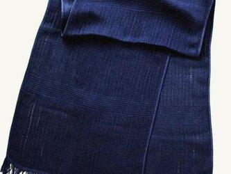 ◆極上 100%自然素材 天然灰汁発酵建て 本藍染め作品◆ 今治産 スーピマオーガニックコットンマフラーの画像