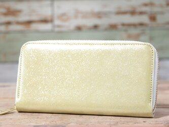 日本産 ラメ入り牛革 ゴールド 長財布 ラウンドファスナー 皮 ハンドメイド 手作りの画像