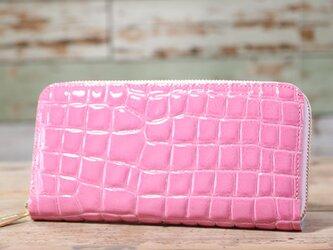 日本産 クリアクロコ型押し ピンク 長財布 ラウンドファスナー 皮 ハンドメイド 手作りの画像