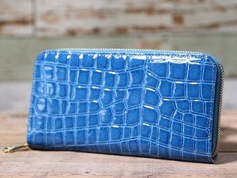 日本産 クリアクロコ型押し ブルー 長財布 ラウンドファスナー 皮 ハンドメイド 手作りの画像