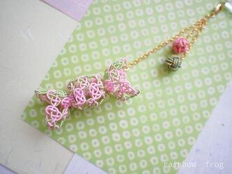 水引 帯飾り 飴(ピンク×うぐいす)の画像