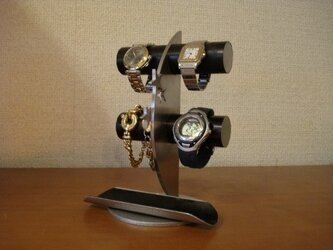 ブラック4本掛け丸パイプ飛び出す★トレイ三日月腕時計スタンド ak-designの画像