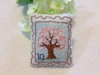 切手ブローチ(桜の木)の画像