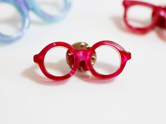 メガネピンズ(丸メガネ、Sサイズ、短針、レッドピンク)の画像