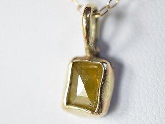 ローズカット・ダイヤモンド(天然カナリー・イエロー)10kゴールド・ペンダントの画像