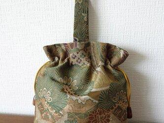 帯地:松と菊の手つき巾着(B-66)の画像