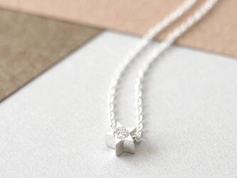 White 極小 星 ネックレス シルバー925の画像