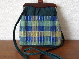 手織り久留米絣:山桃藍のショルダーバッグ(B-63)の画像
