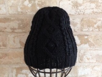 【受注後製作】ニット帽アルパカ×ラムウール(折り返しなし)黒 の画像