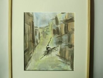 水彩と墨のコラボ画  ソリスト 明日への画像