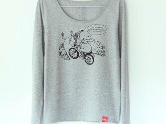 ウサギくんのTシャツ Lady's 長袖 gray x blackの画像
