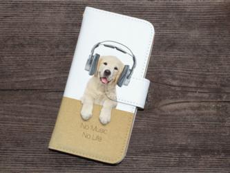 全機種対応 手帳型 スマホケース iPhoneXs iPhone9 犬 レトリバーだってNo Music No Lifeの画像