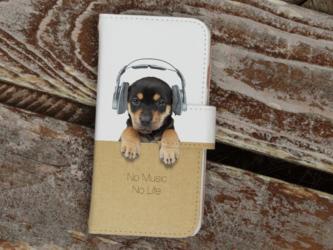 全機種対応 手帳型 スマホケース iPhoneXs iPhone9 犬 子犬だってNo Music No Lifeの画像