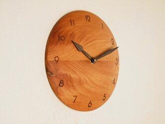 掛け時計 丸 けやき材38の画像
