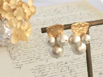 秋冬新作 gold × cotton pearl pierce ピアス/ノンホールピアスの画像