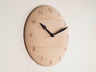 木製 掛け時計 丸 シナ材1の画像