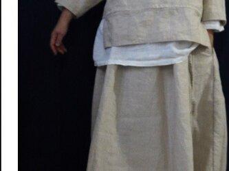 個性的☆麻のラップスカート刺し子ステッチ入りの画像