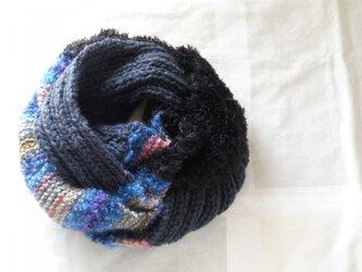 一点物3色スヌード 青系グラデーション×濃紺×黒ファーの画像