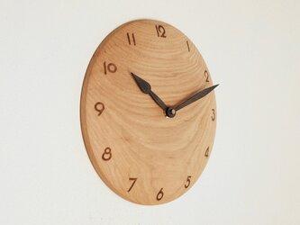 木製 掛け時計 丸 楡(ニレ)材2の画像
