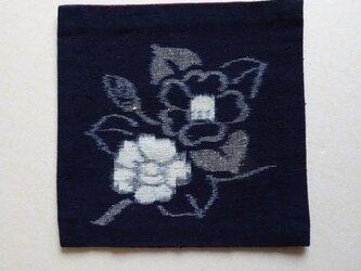 手織り久留米絣:椿のコースター(T-13)の画像