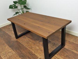 【yumi様専用オーダー】杉の無垢材を使ったローテーブル チーク色 片面穴埋め仕様の画像