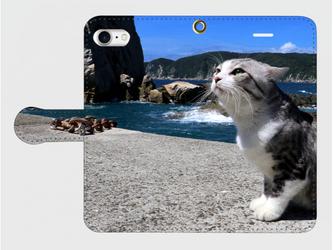 ニャン吉手帳型スマホケース【潮風】*受注製作*iPhone Galaxy Xperia ARROWS AQUOSの画像