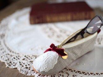新生活の贈り物に 新リネン バレエシューズポーチ ワインレッドの画像