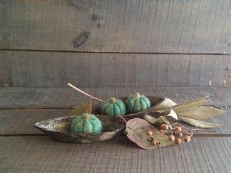 羊毛フェルトのハロウィンかぼちゃ(グリーン)の画像