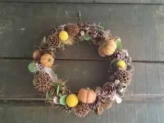 木の実がいっぱいの秋のナチュラルリース+羊毛フェルトのハロウィンかぼちゃの画像