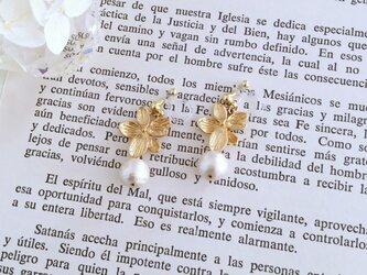 flower&pearl earring ◇◆ ノンホールピアスイヤリング/ピアスの画像