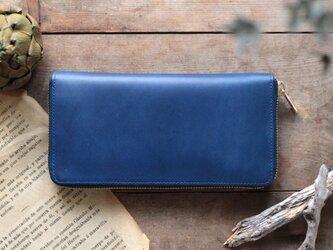 藍染革[migaki] ラウンドファスナー長財布の画像