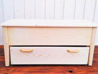収納ベンチ 2段キャスター付きの画像