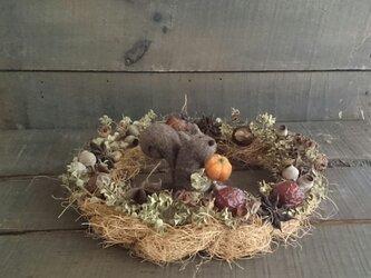 木の実のナチュラルリース+羊毛フェルトの小さなリスくんの画像