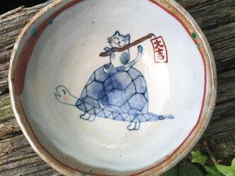 再出品(定番) ご長寿亀と大吉ねこの御飯茶碗の画像