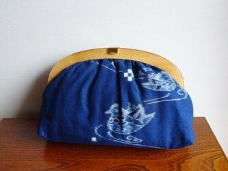 手織り久留米絣:鴛鴦のセカンドバッグ(B-16)の画像