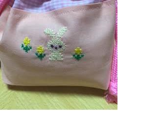 クロスステッチ刺繍*うさぎとお花★コップ入れの画像