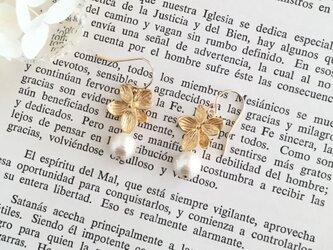 秋冬新作 flower&pearl pierce ピアス/ノンホールピアスの画像