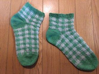 手編み靴下・マシュマロコットンチェック柄・緑の画像