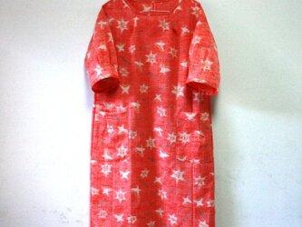 ウール 赤系 ゆったり5分袖ワンピース Mサイズの画像