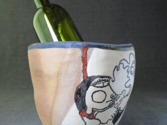 ワインクーラー(26)イラスト入り 陶芸家オリジナル陶器の画像