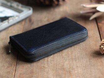 藍染革[migaki&bridle] ×オイルレザー コインケースの画像