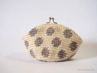 編みがま口・丸型【ベージュ×モカドット】の画像